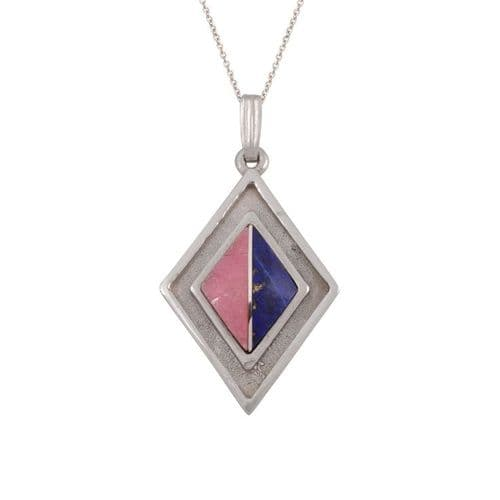 Sterling Silver Lapis and Rhodonite Pendant