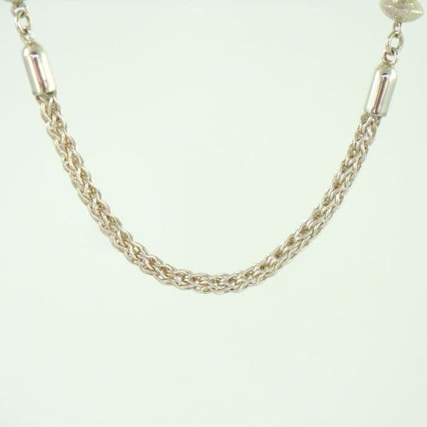 Sterling Silver Roman Chain and Bead Necklace