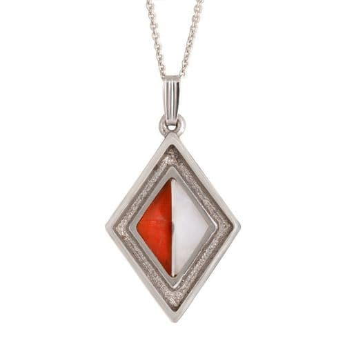 Sterling Silver White and Fire Opal Pendant