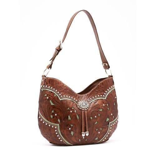 Tan Leather Scoop Tote