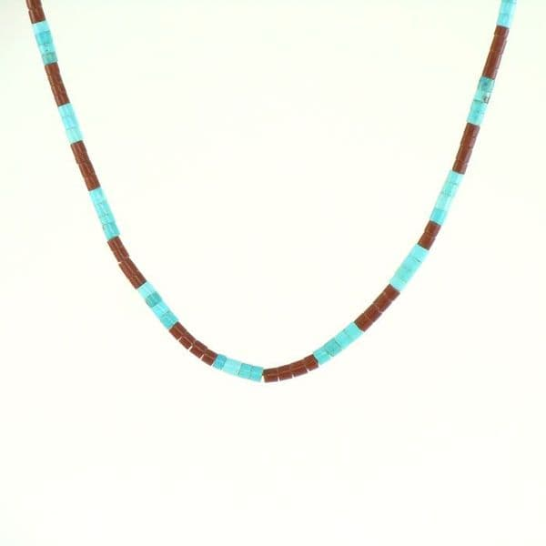 Turquoise and Pipestone Heishi Necklace