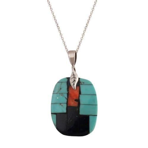 Turquoise, Lapis and Coral Inlay Pendant
