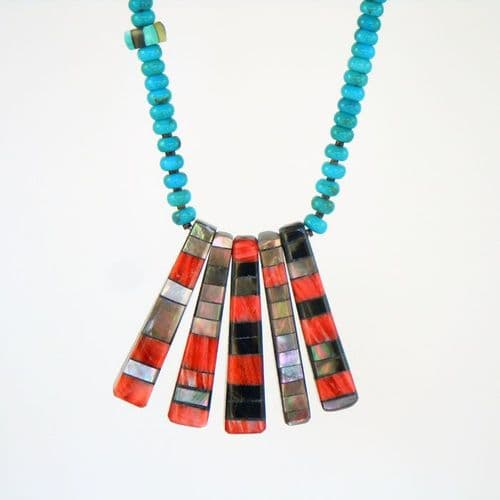 Turquoise Necklace with Mosaic Inlay Pendants