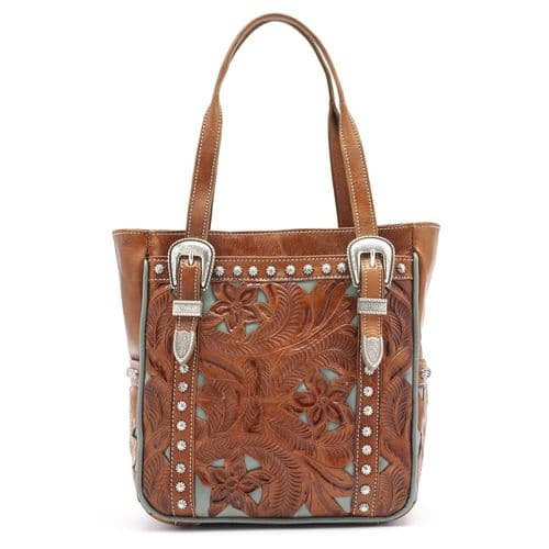 Turquoise Trimmed Brown Leather Tote