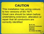 50 Personalised 'Mixed Wiring Colours' Labels. BS7671.