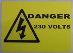 Danger 230V, Electrical Warning Labels (Landscape Type)
