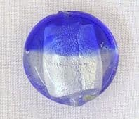 10 Silver foil 20mm Murano glass beads Blue