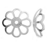 10 Sterling Silver Flower Bead Caps 6mm