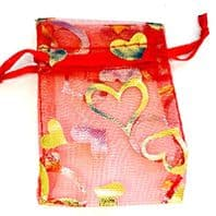 100  Red Organza Bags 70mm Gift Bags