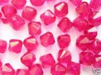 1000 Acrylic Bicone Beads 6mm Rose