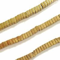 16 Inch Electroplate Gold Hematite Square 4x4x2mm Beads