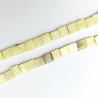 16 Inch Light Yellow Shell 8mm Square Beads