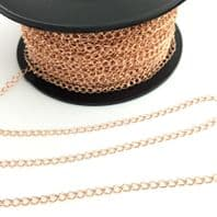 1Ft Rose Gold Sterling Silver Curb Chain 4.5x3mm