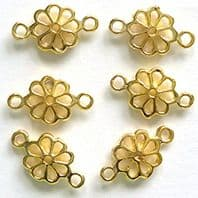 20 Gold plated Jewellery findings 10x7mm bead connectors