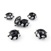 4 LAMPWORK 14X8MM GLASS BEADS 5mm HOLE  BLACK