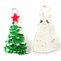 5 Green Enamel Christmas Tree charms 25mm