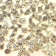 50 Assorted Tibetan Silver Leaf Flower Charms Selection 9 Designs