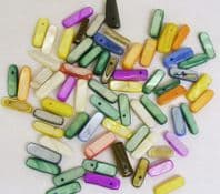 Dyed Shell 14-20mm Tusk Beads Mixed  PK of 50g
