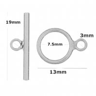 .925 Sterling silver 10mm Toggle Clasp