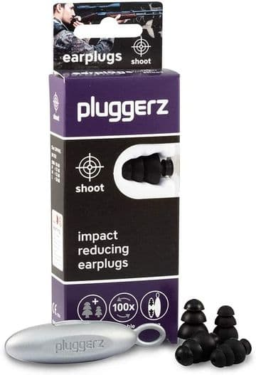 Pluggerz Ear Plugs Black Clay Game Shooting Hearing Protection