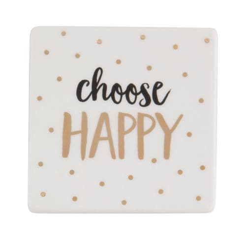 'Choose Happy' Metallic Ceramic Coaster
