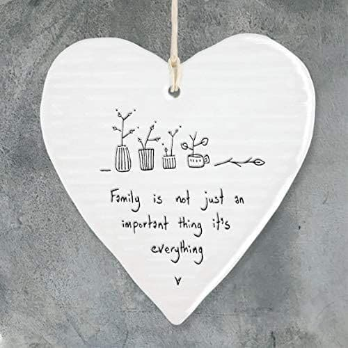 'Family is Everything...' East of India Porcelain Hanging Heart