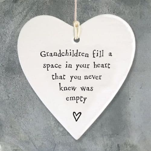 'Grandchildren fill space in your heart' East of India Porcelain Hanging Heart