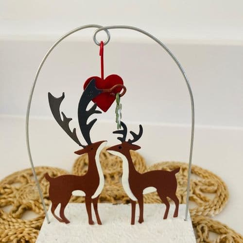 'Kiss Me Deer' rustic block standing Christmas decoration