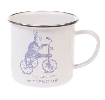 'Let's go on an Adventure'  Rabbit/Hare Enamel Mug
