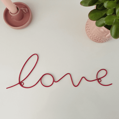 'Love' Pink Wire Word Art by Bombay Duck