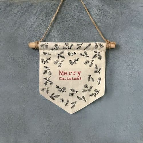'Merry Christmas' Fabric Pennant/Flag by East of India