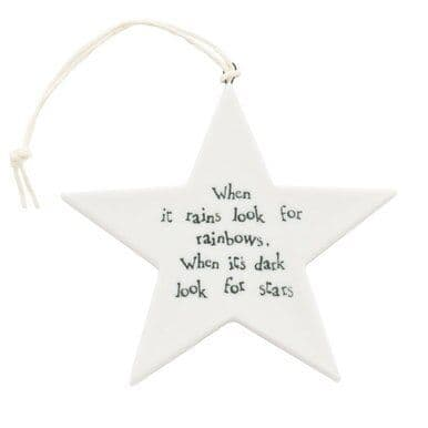 'When it Rains, Rainbows...' East of India Porcelain Hanging Star