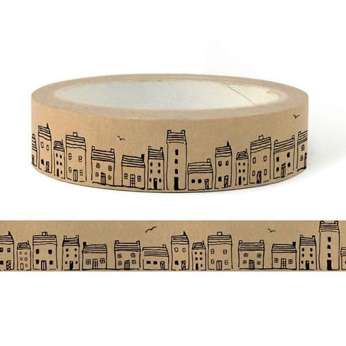 A Row of Houses, Brown Paper Tape by East of India
