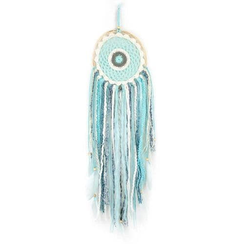 Boho Crochet Dream Catcher,  White/Grey/Blue's