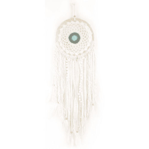 Boho Crochet Dream Catcher, White/Taupe/Grey/Blue