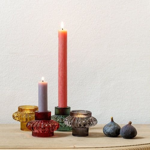Chunky Glass Ribbed Tea Light/Dinner Candle Holders - Various Colours