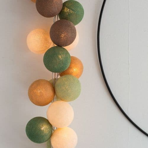 Cotton Ball String Fairy Lights - 20 Forest Green, Mains
