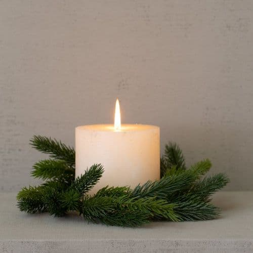 Faux Fir Festive Christmas Candle Ring