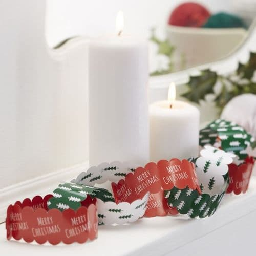 Festive Paper Chains, Red, Green and White
