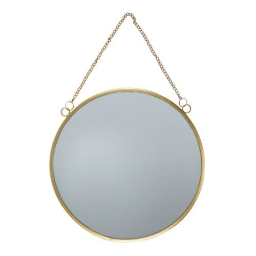 Gold Round Hanging Wall Mirror, 25cm
