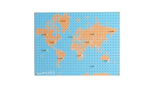 Large Block Wooden Pegboard with Pegs  - World Map