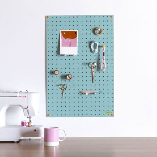 Medium Block Wooden Pegboard with Pegs  - Blue