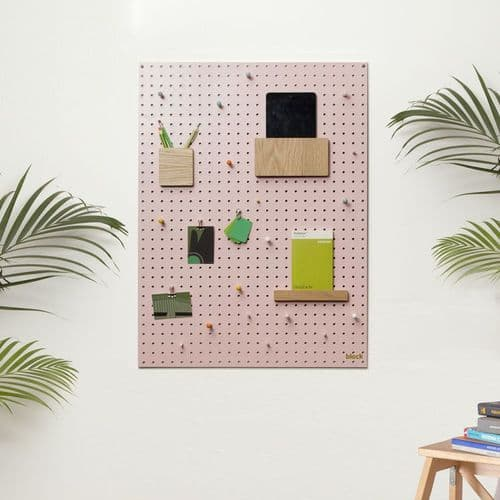 Medium Block Wooden Pegboard with Pegs  - Pink