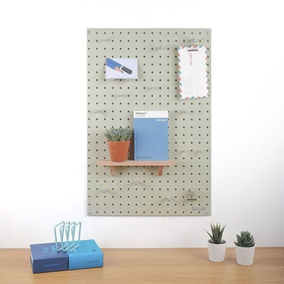 Medium Block Wooden Pegboard with Pegs  - Sage Green