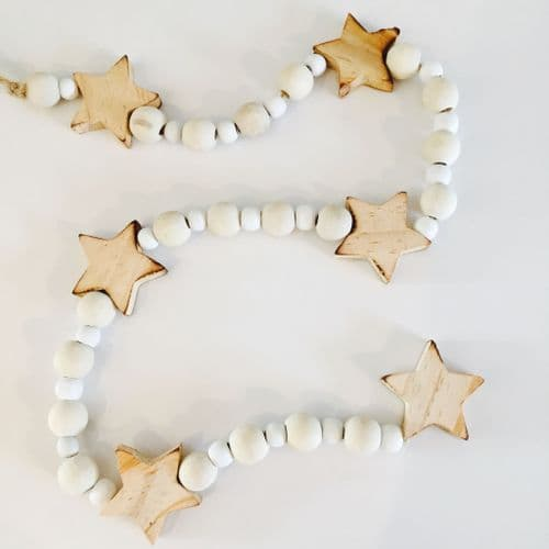 Natural Wooden Chunky Beaded Star Garland