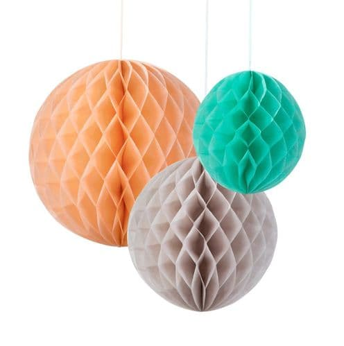 Pastel Honeycomb Paper Balls, peach, grey and mint green, Set of 3