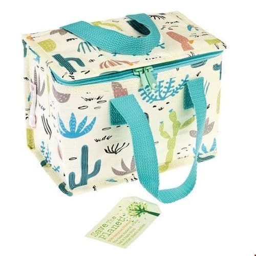 Recycled Insulated Lunch Bag - Colourful Cactus Print