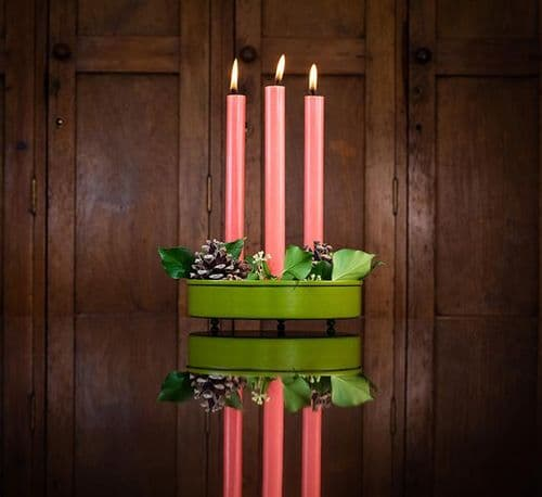 Round Candle Platter, Candle Holder - Olive Green