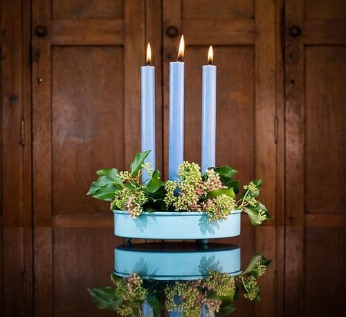 Round Candle Platter, Candle Holder - Sky Blue