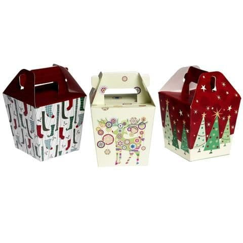 Set of 3 Christmas Gift Boxes , Stockings, Reindeer and Christmas Tree
